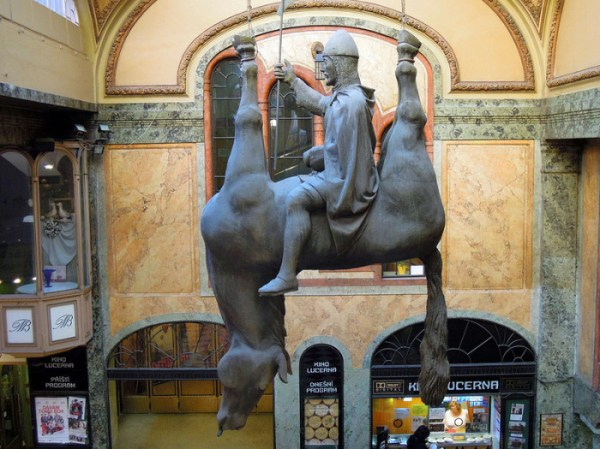 St. Wenceslas on a horse upside down.