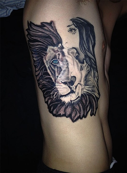 lion tattoo with half lion and half girl