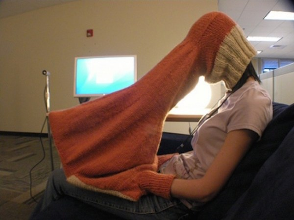 A cozy private laptop viewer so that nobody can see what you're really looking at.