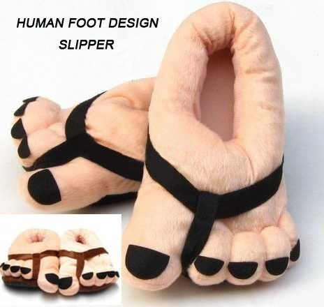Funny big feet slippers.