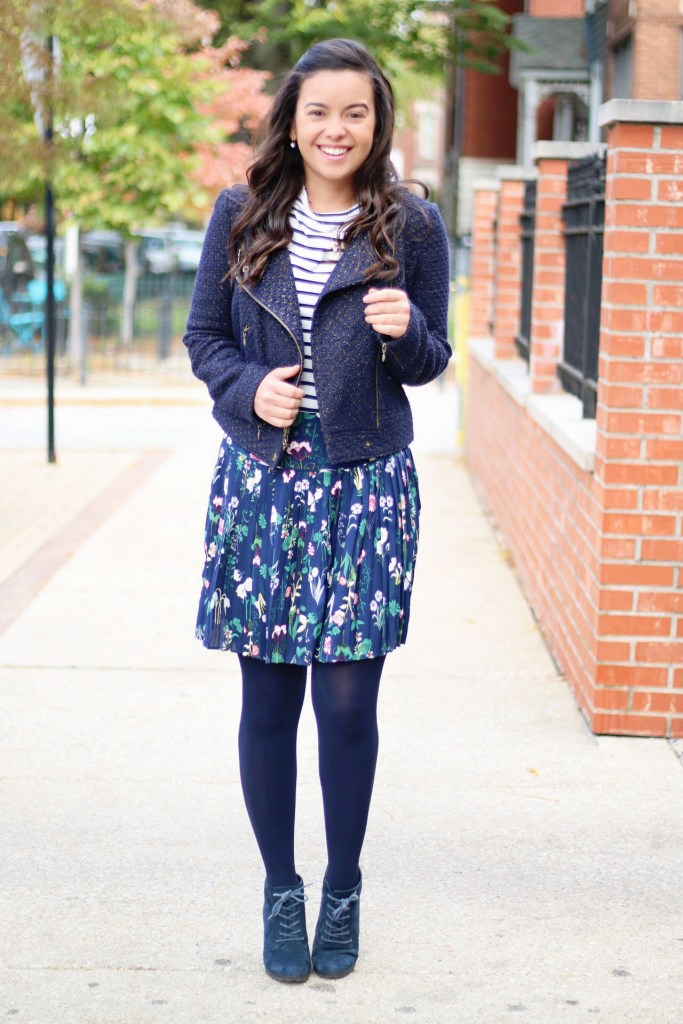 My version of monochromatic outfits with an head to toe navy look print mixing