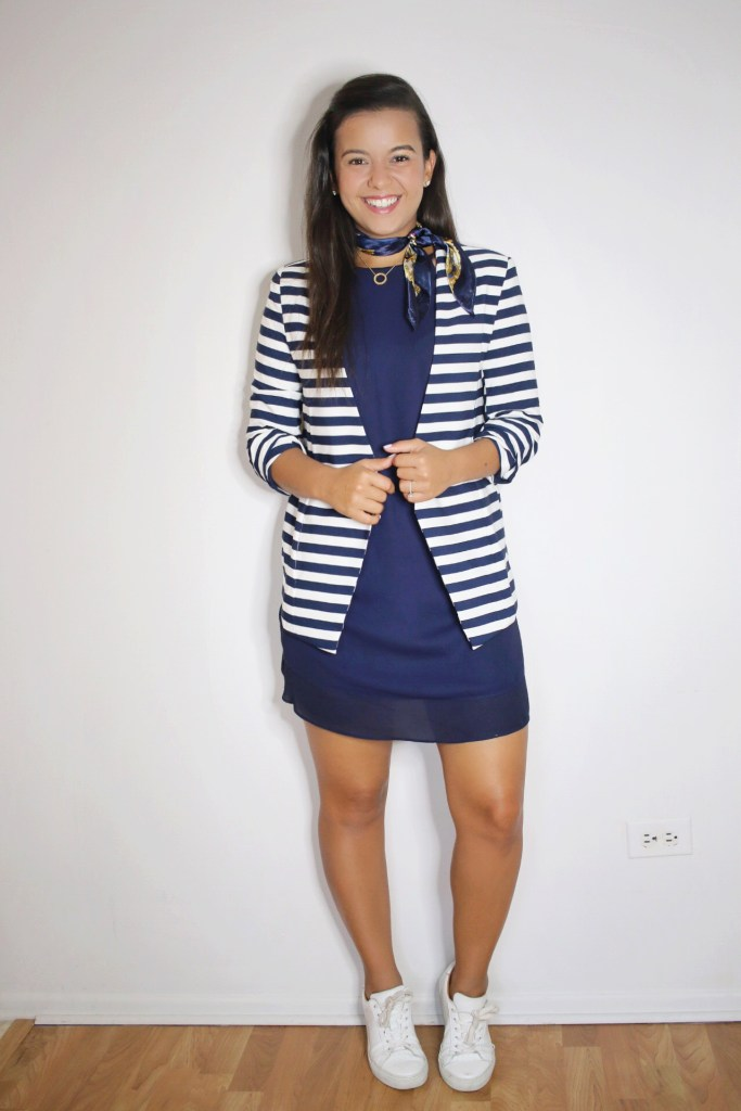 My version of monochromatic outfits with an head to toe casual navy look