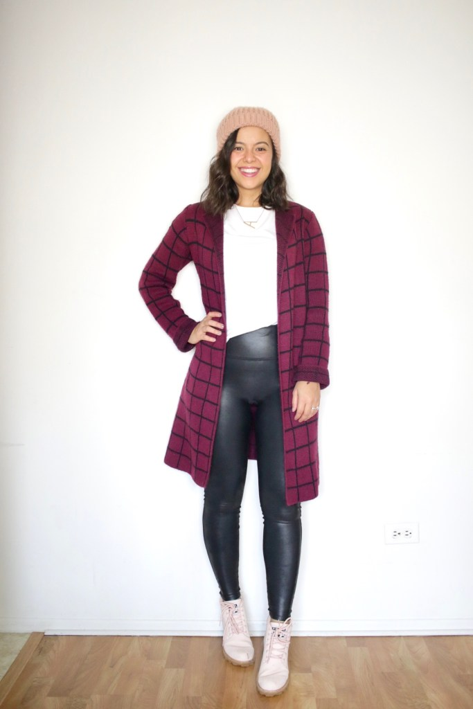 Styling a long cardigan for Winter with Spanx leggings and a t-shirt