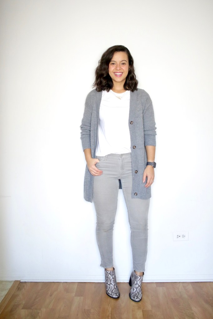 How to wear a long cardigan for Fall and Winter with neutrals. Neutral look