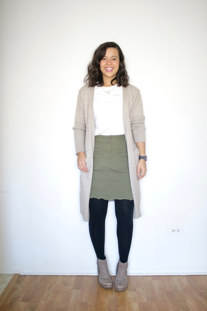 Styling a long cardigan with a skirt and booties for Winter