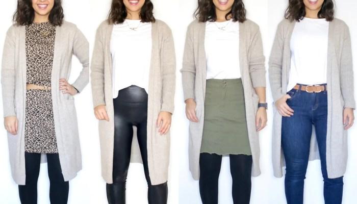 Winter staple: long cardigan (7 different looks)