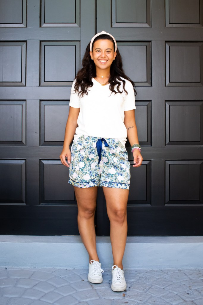so easy to style pj shorts with a white t-shirt and sneakers. Styling pajamas as daywear in a casual way