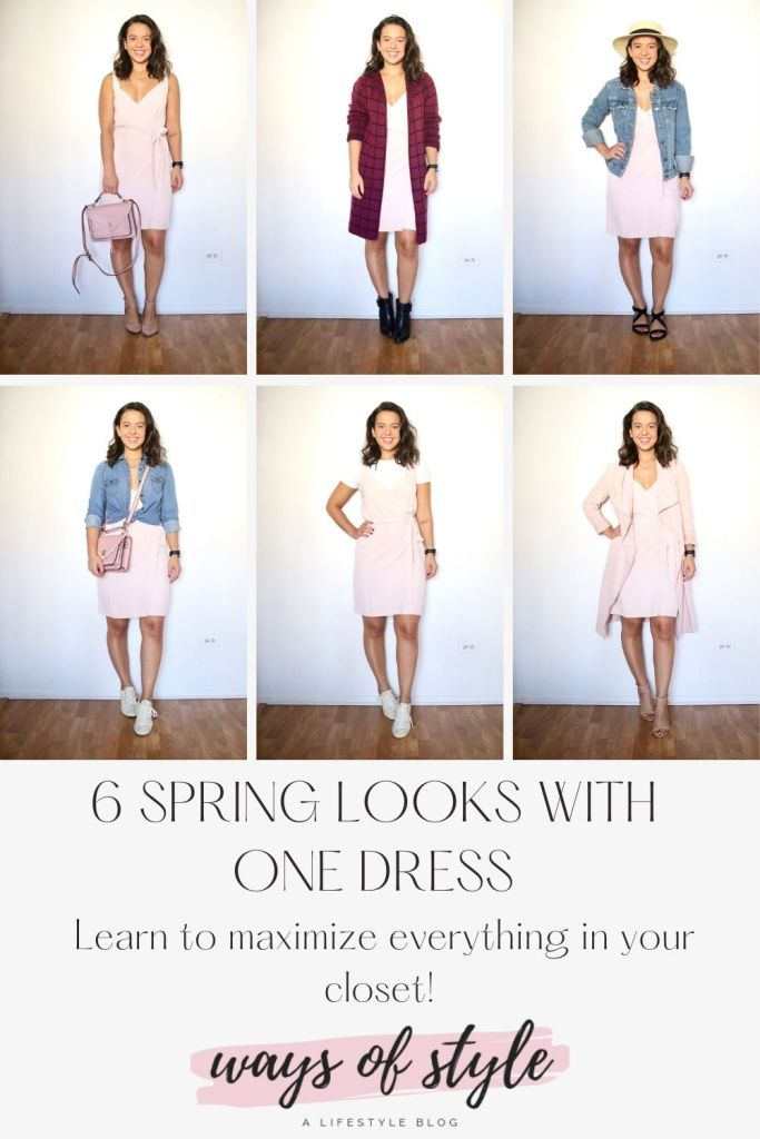Outfit ideas for Spring with one dress Pinterest Pin. Maximize your closet