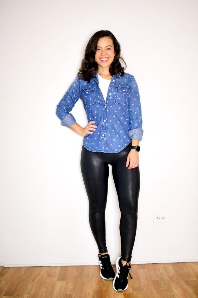 Styling Spanx leather leggings with a chambray shirt and sneakers