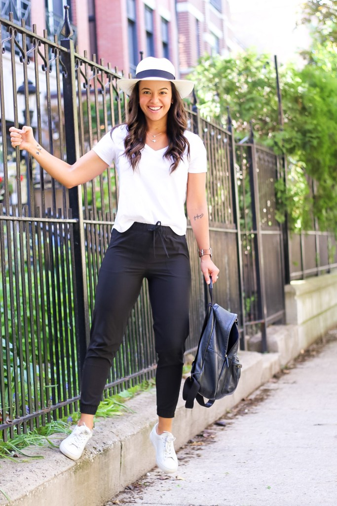 Styling a white t shirt with comfy pants and sneakers for Summer