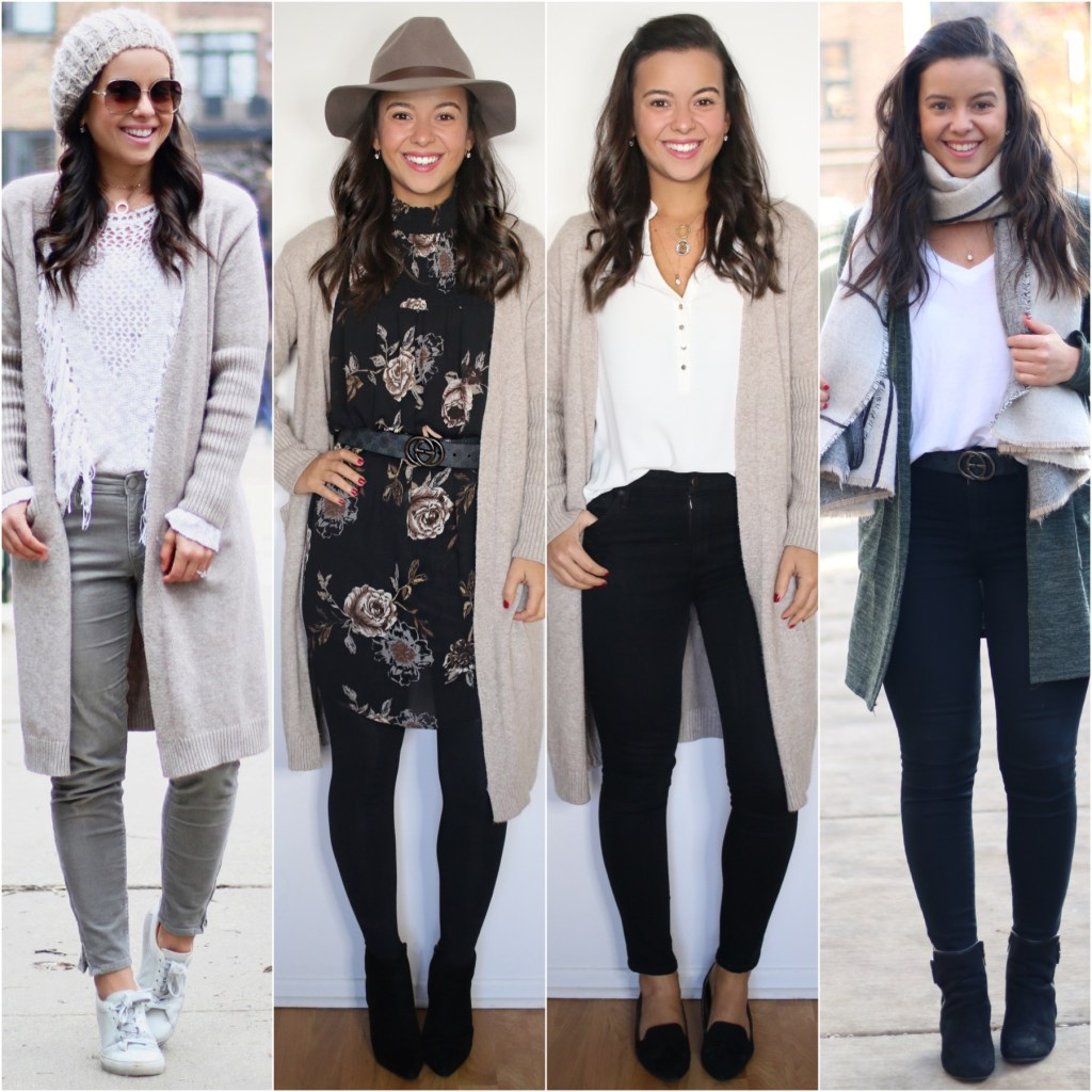 long cardigan looks for the office - office capsule wardrobe