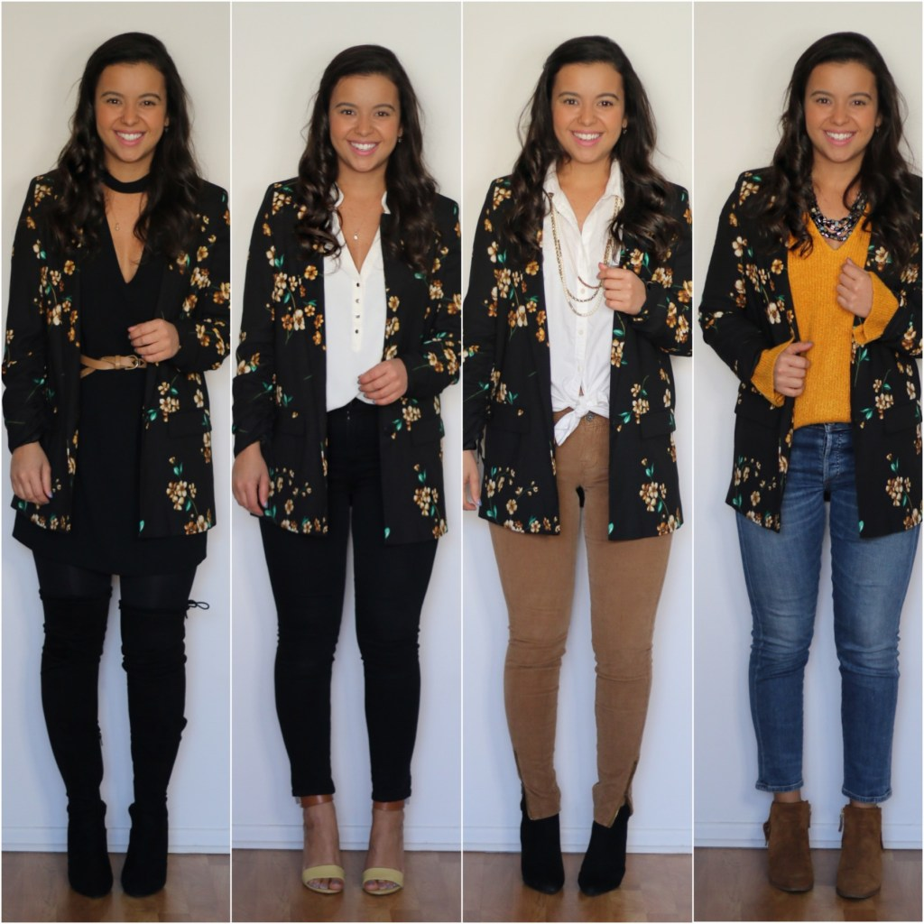 office looks with a floral blazer