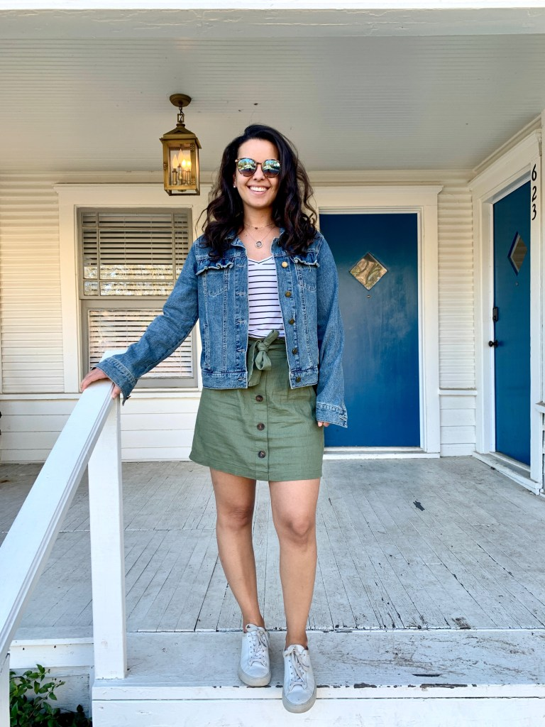 Styling a striped t-shirt for Summer with skirt and denim jacket