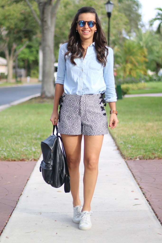 Casual date night look with shorts and sneakers