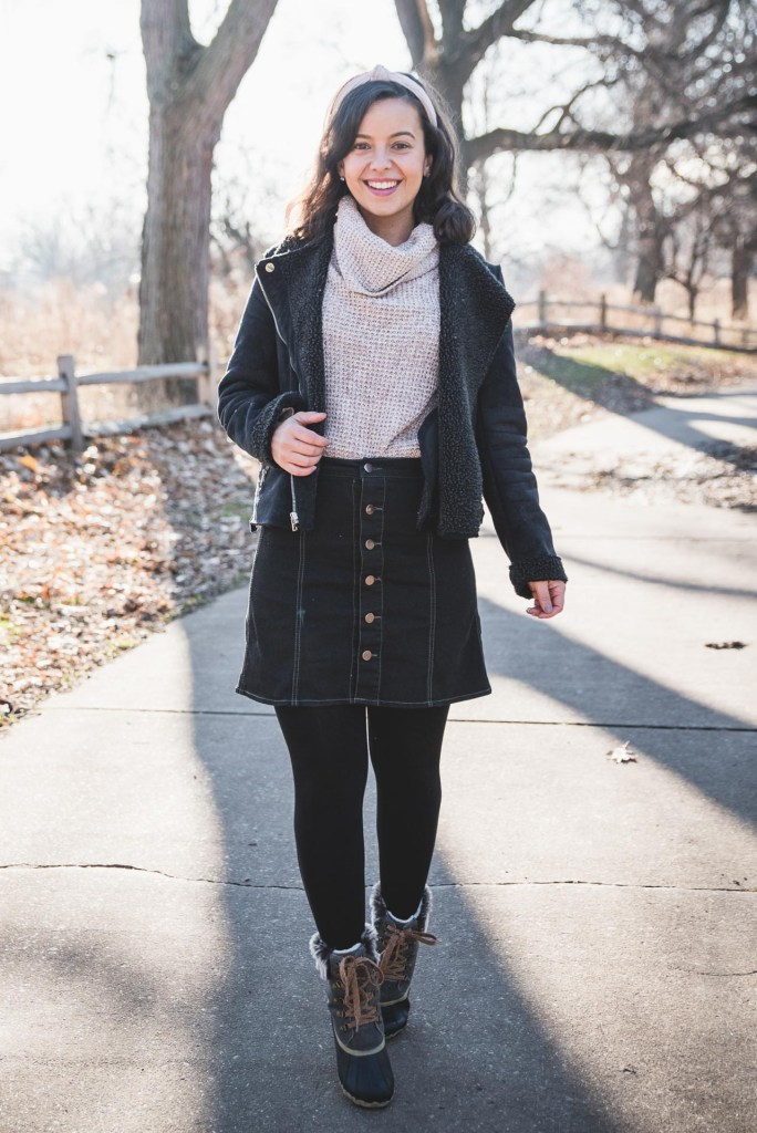 how to style an oversized sweater with a skirt