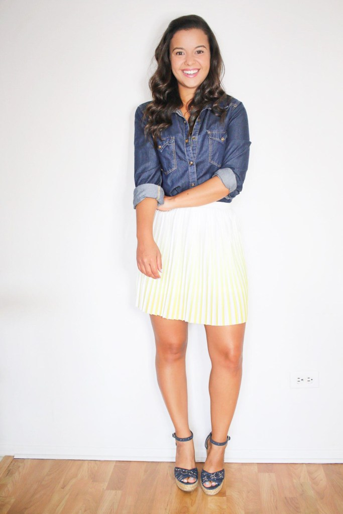 Styling a jean shirt for Summer with a skirt and espadrille wedges