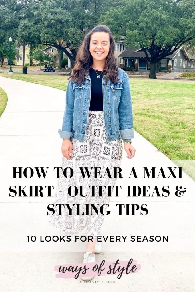 how to wear a long skirt Pinterest Pin