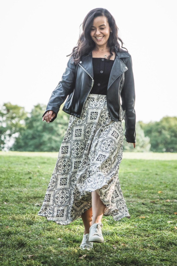 How to wear a leather jacket with a maxi skirt