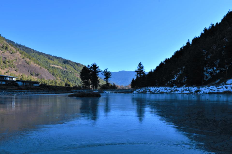 frozen haa chhu river in haa valley bhutan