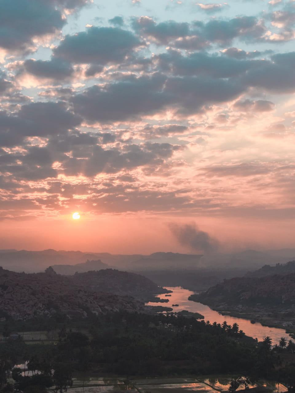 sunrise from anjana parvath or monkey hill hampi