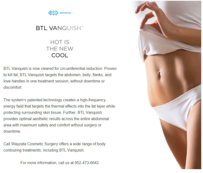 BTL Vanquish Receives FDA Clearance for Non-Surgical Circumferential Reduction of the Abdomen