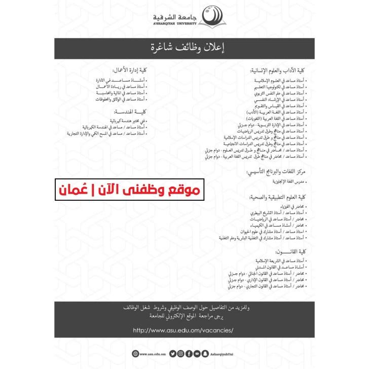 وظائف في جامعات سلطنة عمان - جامعة الشرقية تعلن عن توفر وظائف بجميع التخصصات