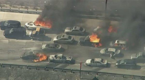 California Wildfire Sweeps Over I-15 Freeway