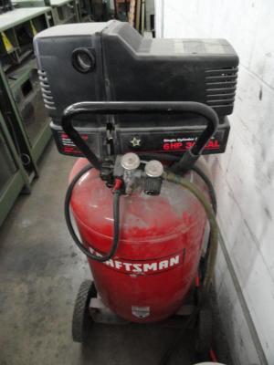 Lot #43: Craftsman 30 Gallon  6HP Gas  Electric Air Compressor  WireBids
