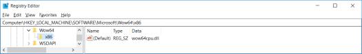 \Registry\Machine\Software\Microsoft\Wow64\x86 (x64)