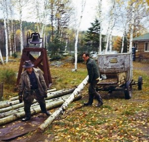 Building the porch on the Main Lodge, 1971