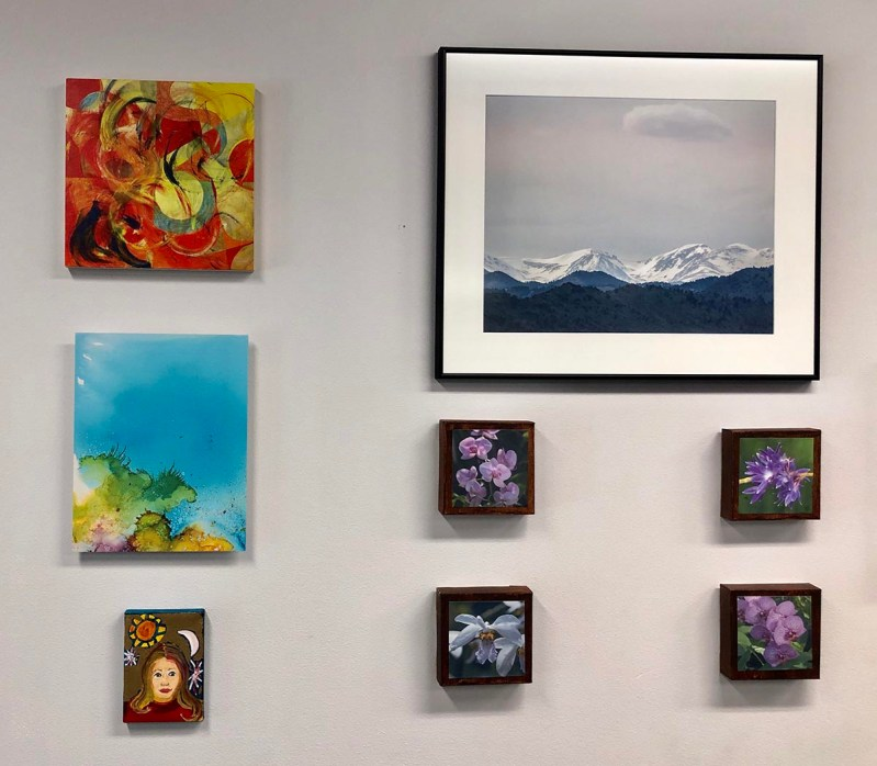 A group of eight pieces of artwork up on a wall