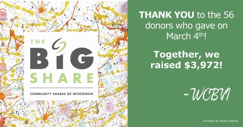 Photo of a Big Share thank you card that says Thank You to the 56 donors who gave on March 4th! Together, we raised $3,972! From WCBVI