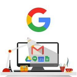 Drawing of computer with Google Suite logos