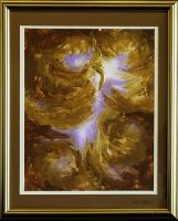 A majestic swirl of golds in the broad shape of a phoenix bird, with purple and white in the background.