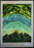 A sunrise over mountains; the mountains are dark green, sun golden and sky a three-stripe of light green, teal and dark green.