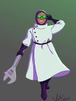A smiling woman in a white lab coat, black belt and buttons holding a wrench in one hand and goggles onto her head with the other hand.