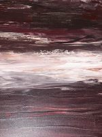 One large piece that fades from maroon streaks of paint on the top, to grey, white and grey again.