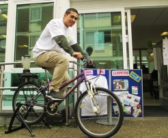 Osman on the 'smoothie bike' at New Year New You, Church Street Library, January 2016