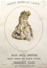 Alhambra playbill for 1874 featuring Kate Stanley in a production of The Black Crook. Image property of Westminster City Archives.