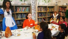 Mad Hatter's Tea Party at Queen's Park Library, November 2015. Image copyright Maureen Pepper.