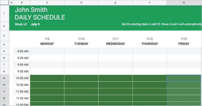 Includes a worksheet for entering data which automatically updates the roadmap. Google Docs Employee Schedule Template Creating A Basic Schedule