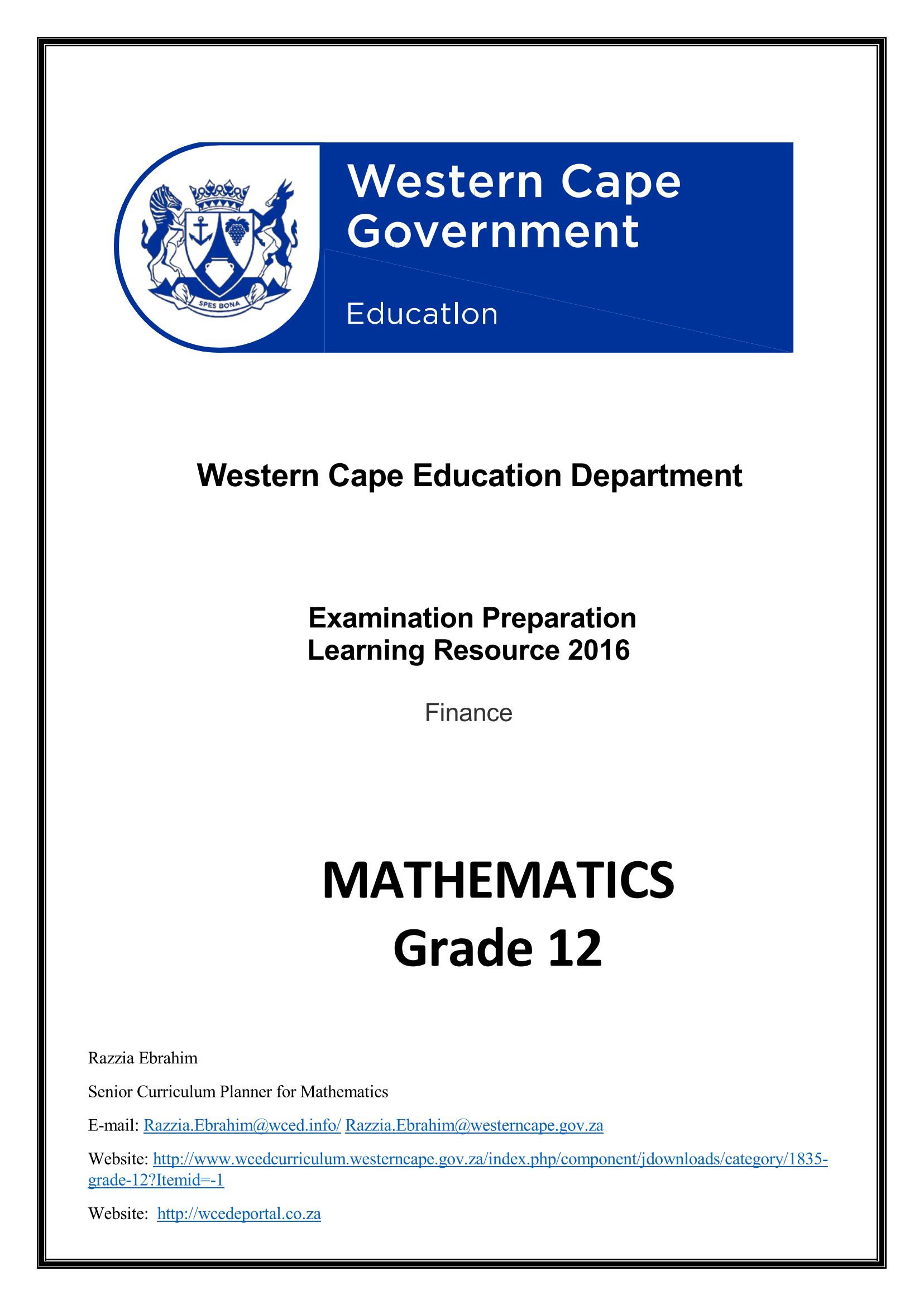 Mathematics Grade 12 Finance