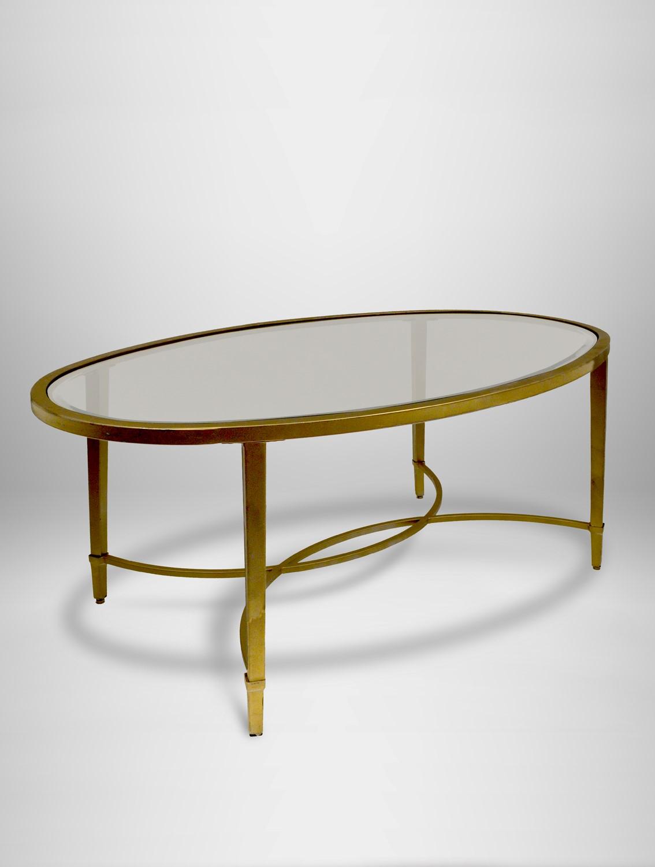 copia glass coffee table gold