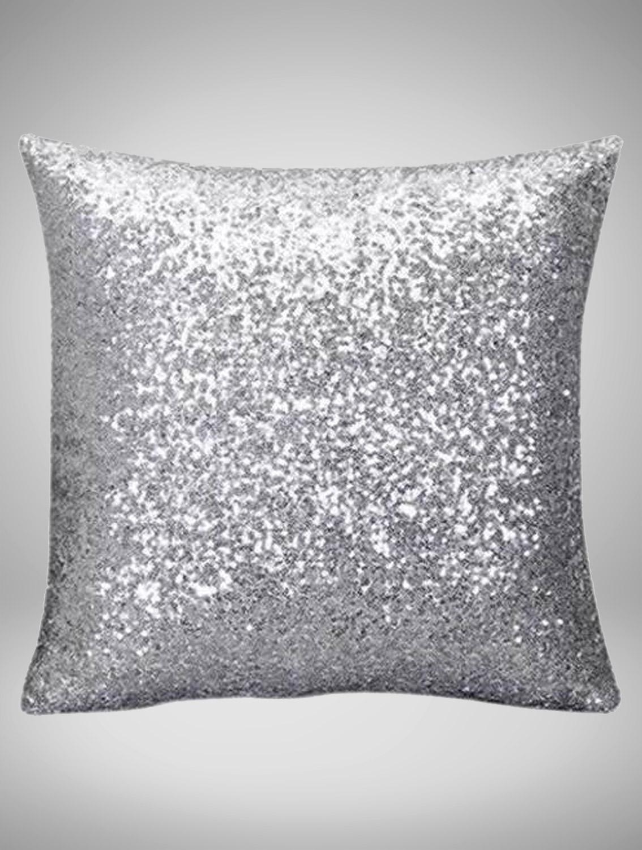 silver sequin pillow