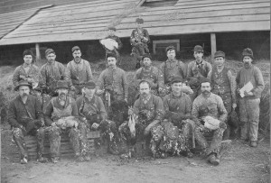 The fourth man from the right in the back row is Teodor Helland. He was born in Sand in Suldal, Rogaland, Norway, in 1871. He emigrated to Webster County around 1889, but returned to Norway around 1895. The photo is supposed to be from Webster County. He died in 1956.