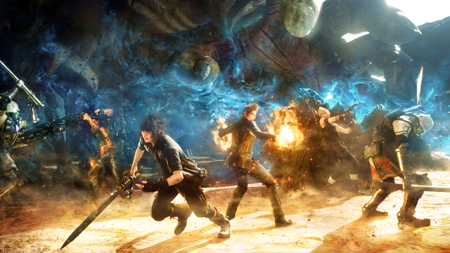 Final_Fantasy_XV_key_art;_characters_in_battle