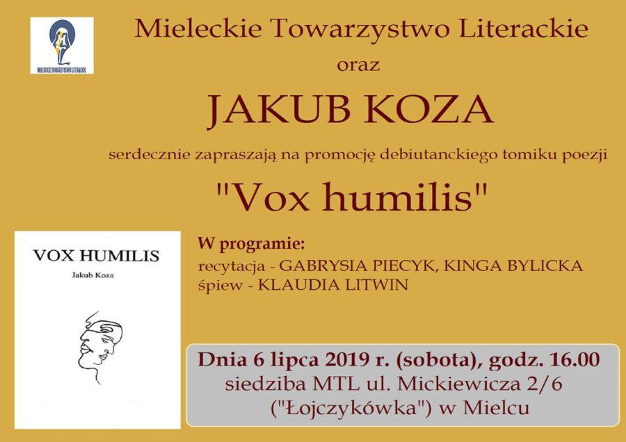 """Promocja debiutanckiego tomiku wierszy pt. """"VOX HUMILIS"""", młodego mieleckiego poety Jakuba Kozy [FOTO, VIDEO]"""