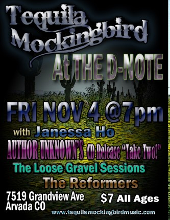 Tequila Mockingbird Live at the D-Note Tonight 11/4