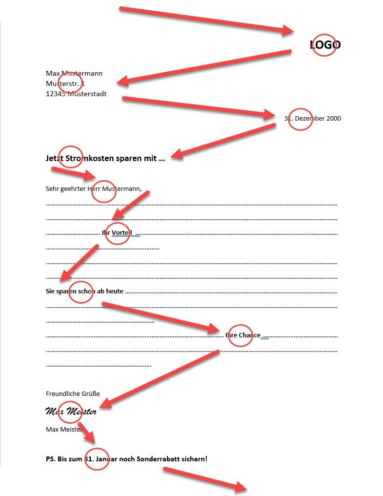 Der Blickverlauf im Werbebrief - WCM.systems