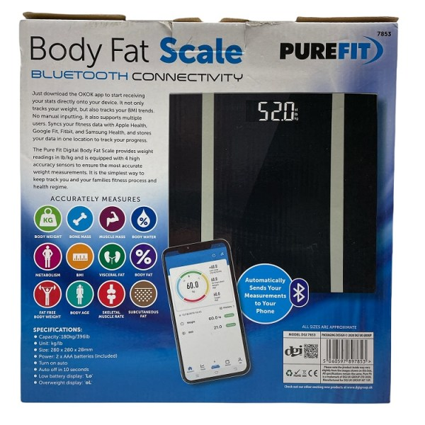 Pure Fit Body Fat Scale Bluetooth Connectivity 7853
